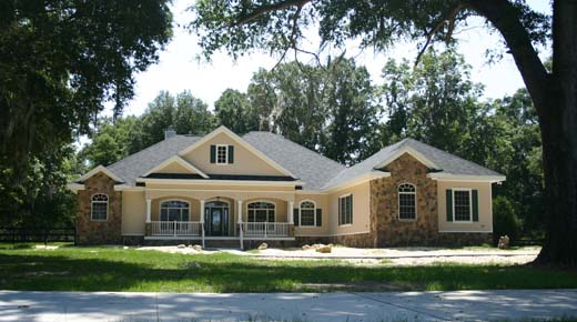 Cinnamon Hill Architects, custom country home design on acreage, raised front porch with guard rails