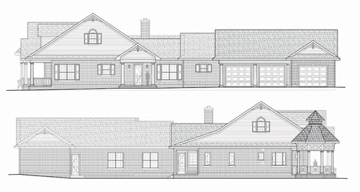 Leesburg Florida Architect, designer home plan, large garage with workshop, architectural ornamentation