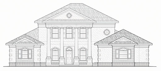 Crystal River Architect, custom levy county florida home design, georgian style residence, tall columns