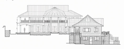 Beach House Designer, custom home design for sloping lot, timber frame roof and ceiling design