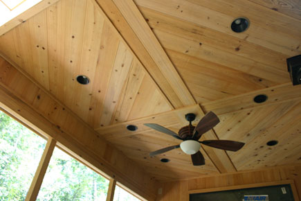 custom home wood tongue and groove ceiling design, alachua county