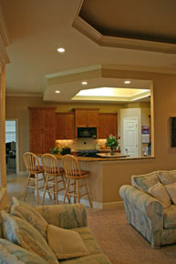 New Home Plans, open floor plan home design with breakfast bar, kitchen island