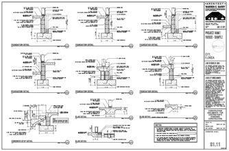 Architectural construction documents foundation details for Foundation plan drawing