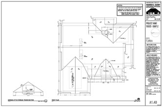 Residential Design Drawings, custom home plans, roof plan with trusses and site framing