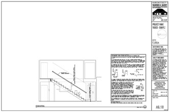 Custom Home Design Drawings, custom home plans, stair design section