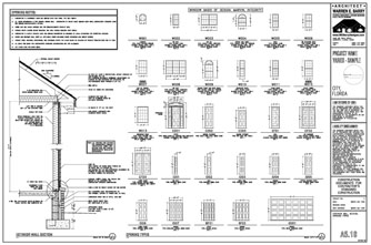 Drawings wall sections on elevation plan